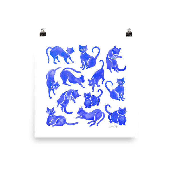 Cat Positions – Blue Palette • Art Print