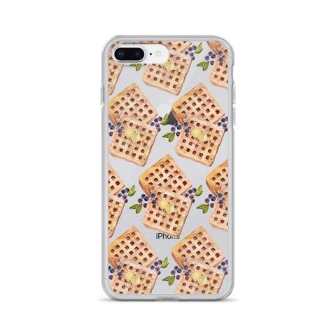 Blueberry Breakfast Waffle Pattern • iPhone Case (Transparent)
