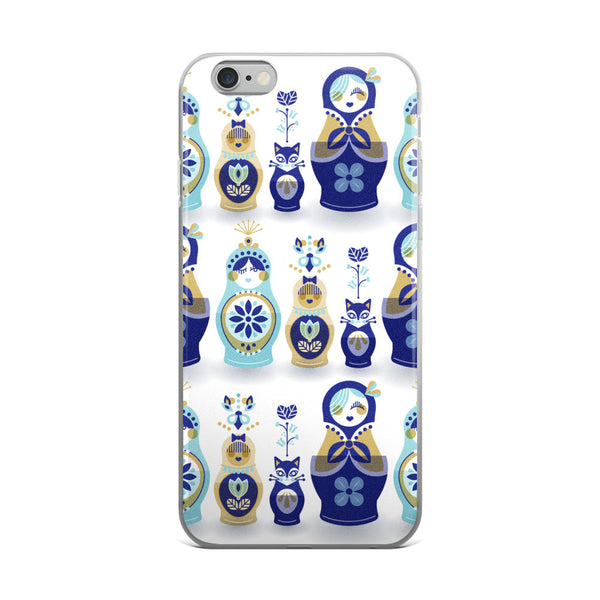 Russian Nesting Dolls – Blue & Gold Palette  •  iPhone 5/5s/Se, 6/6s, 6/6s Plus Case
