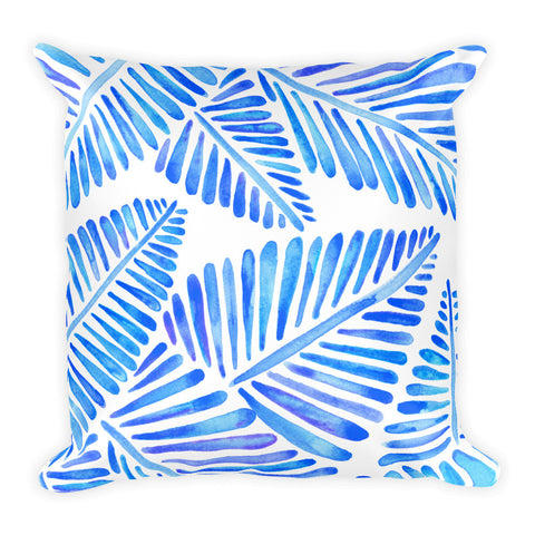 Banana Leaves – Blue Palette  •  Square Pillow