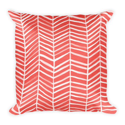 Herringbone – Coral Palette • Square Pillow