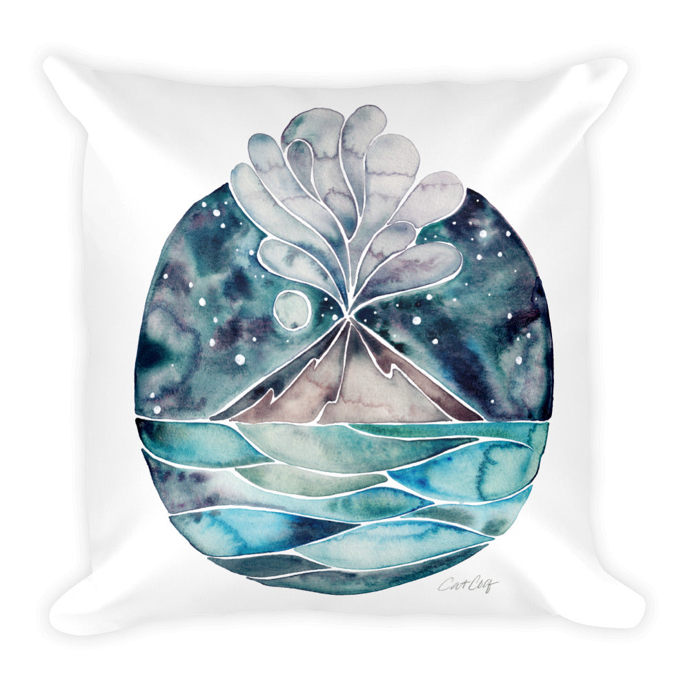 Stromboli Volcano at Midnight – Blue Palette • Square Pillow