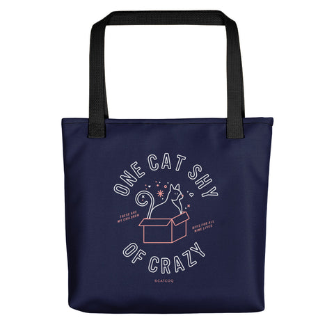 One Cat Shy of Crazy – Blush & Denim Palette • Tote Bag