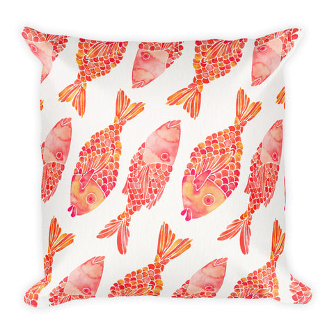 Indonesian Fish – Coral Palette  •  Square Pillow