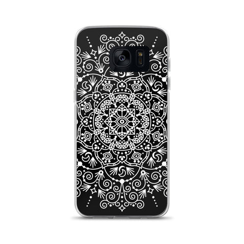 Moroccan Mandala – White Ink on Black • Samsung Case
