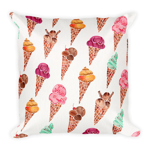 Ice Cream Cones – Rainbow Palette • Square Pillow