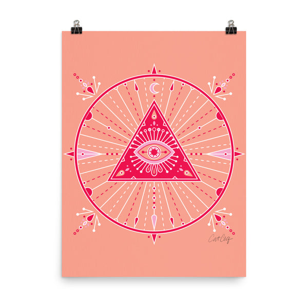 All-Seeing Eye Mandala – Pink Palette • Art Print