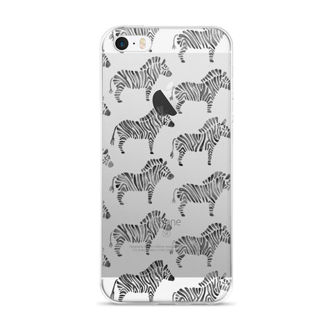 Zebra Collection – Black Palette  •  iPhone 5/5s/Se, 6/6s, 6/6s Plus Case (Transparent)