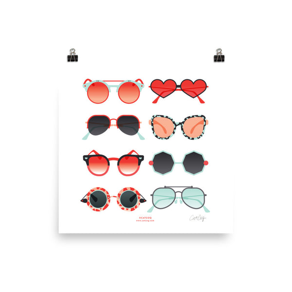 Sunglasses Collection – Red & Mint Palette • Art Print