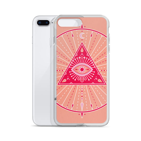 All-Seeing Eye Mandala – Pink Palette • iPhone Case