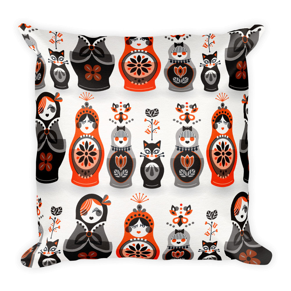 Russian Nesting Dolls – Red & Black Palette  •  Square Pillow