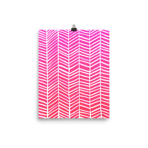 Herringbone – Hot Pink Palette • Art Print