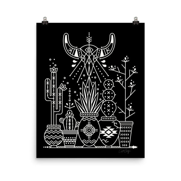 Santa Fe Garden – White Ink on Black  •  Art Print