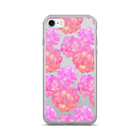 Rosette Succulents – Pink Ombré Palette • iPhone 7/7 Plus Case (Transparent)