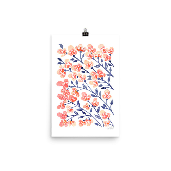 Cherry Blossoms – Peach & Steel Blue Palette • Art Print