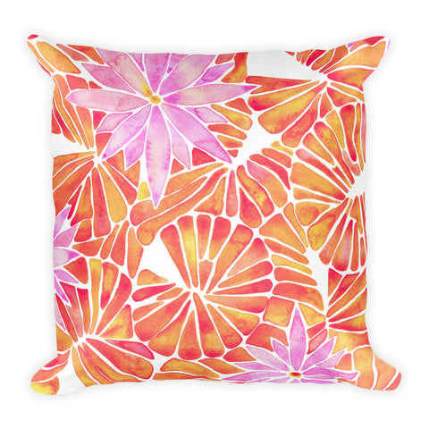 Water Lilies – Melon Palette  •  Square Pillow