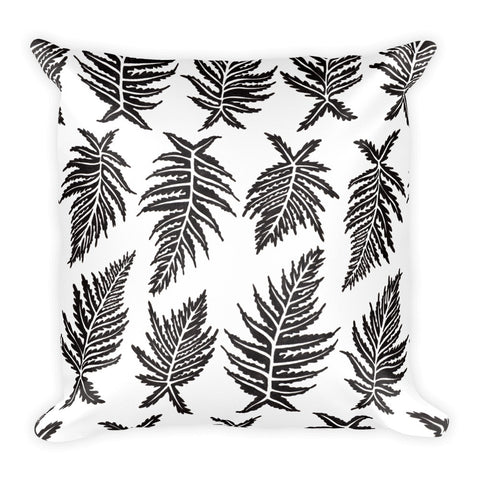 Inked Ferns – Black Ink • Square Pillow