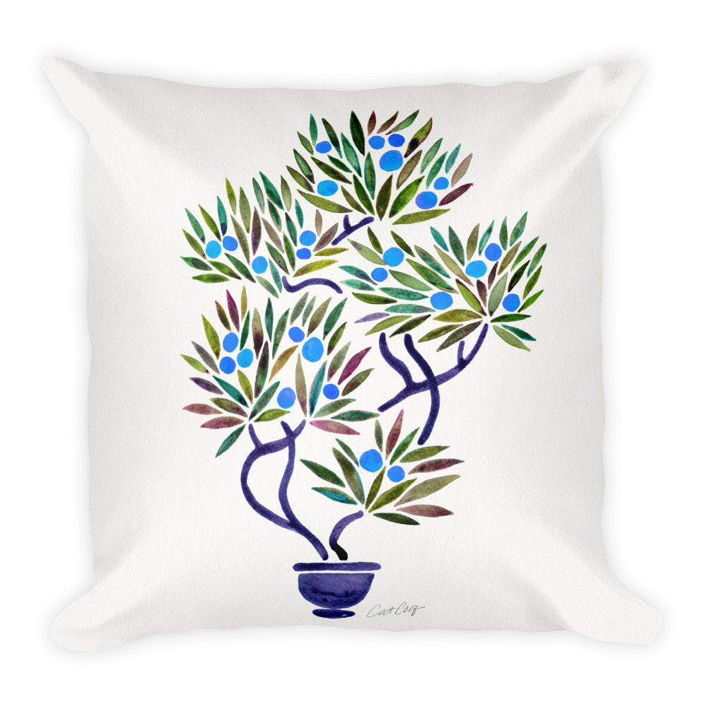Bonsai Fruit Tree – Blue Palette  •  Square Pillow