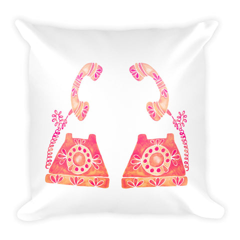 Vintage Rotary Phone – Peach Palette • Square Pillow