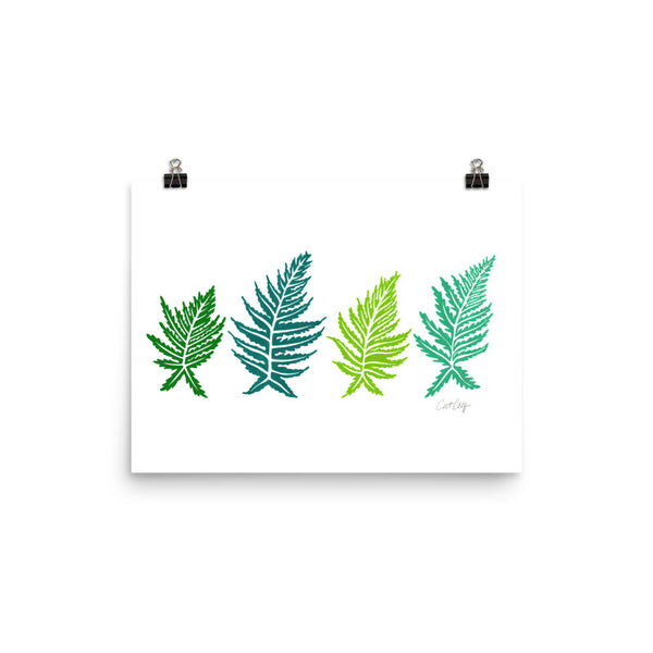 Inked Ferns – Green Ombré Ink • Art Print