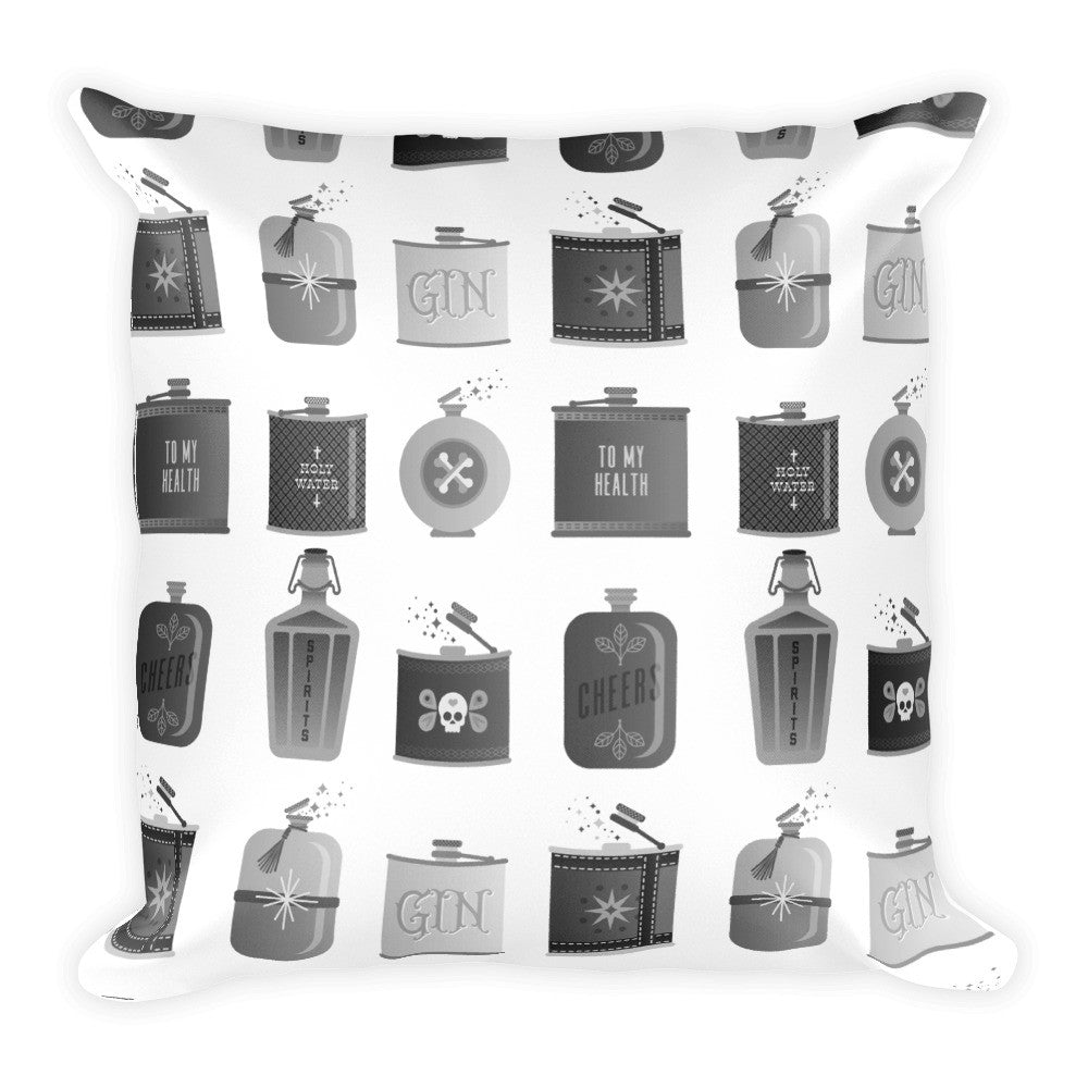 Flask Collection – Black & White Palette • Square Pillow