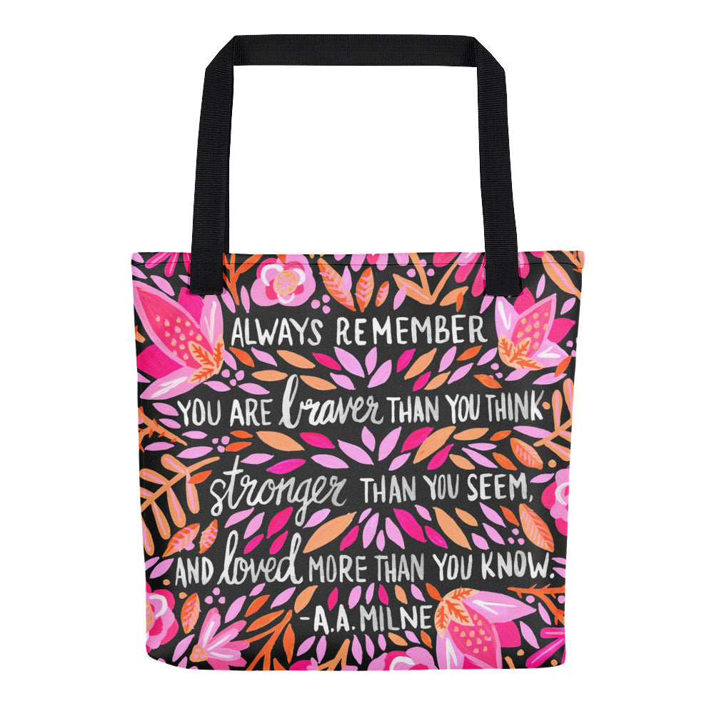 Always Remember – Pink on Charcoal • Tote Bag