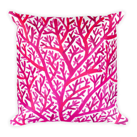 Fan Coral – Pink Palette • Square Pillow