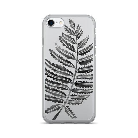 Fern Leaf – Black Palette • iPhone 7/7 Plus Case (Transparent)