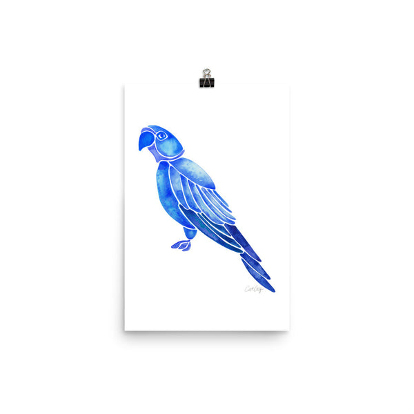 Perched Parrot – Navy Palette • Art Print