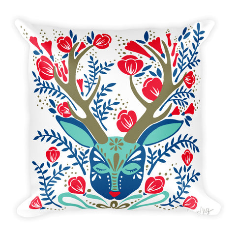 Floral Antlers – Red & Navy Palette  •  Square Pillow