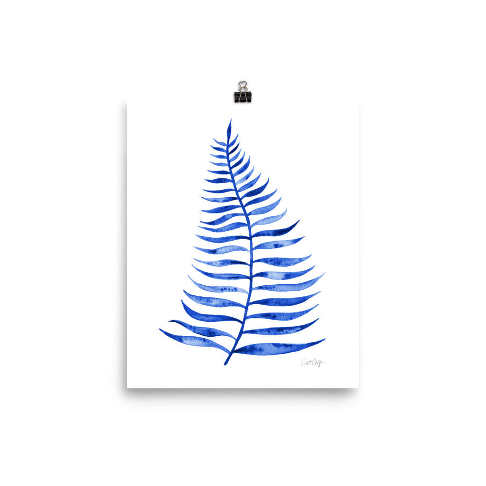 Palm Leaf – Navy Palette  •  Art Print