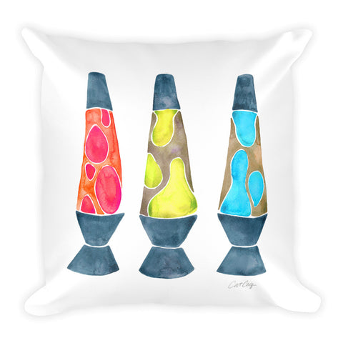 Lava Lamps – Primary Color Palette • Square Pillow