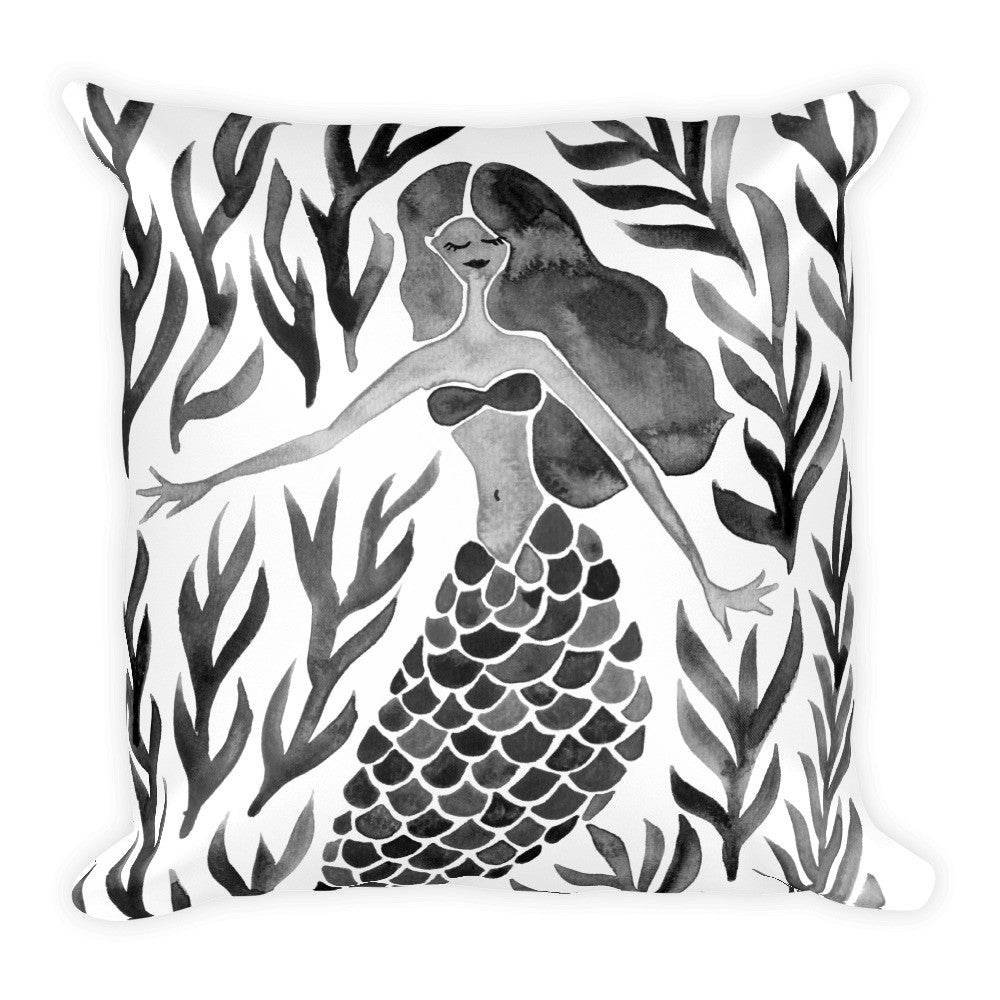 Kelp Forest Mermaid – Black Palette • Square Pillow