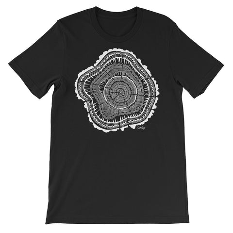 Tree Rings – White Ink • Unisex short sleeve t-shirt