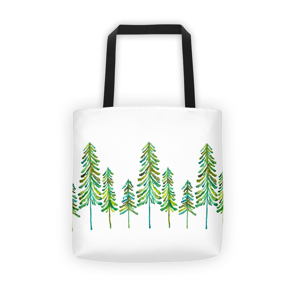 Pine Trees – Green Palette • Tote Bag