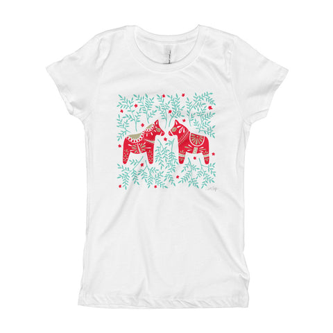 Swedish Dala Horses • Girl's T-Shirt