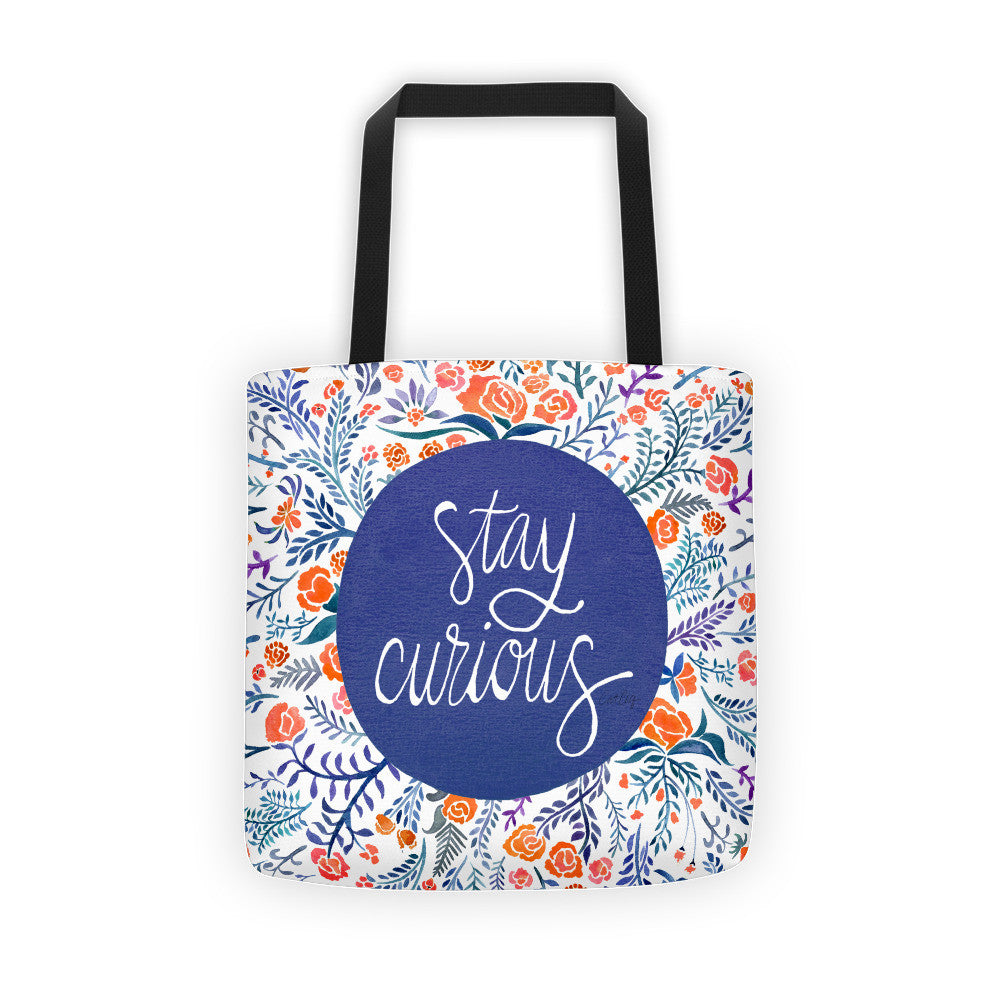 Stay Curious – Navy & Coral Palette • Tote Bag