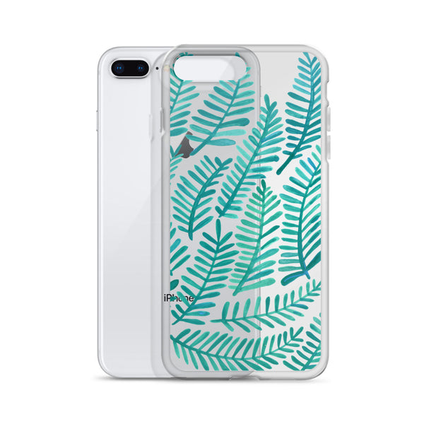 Fronds – Turquoise Palette • iPhone Case (Transparent)