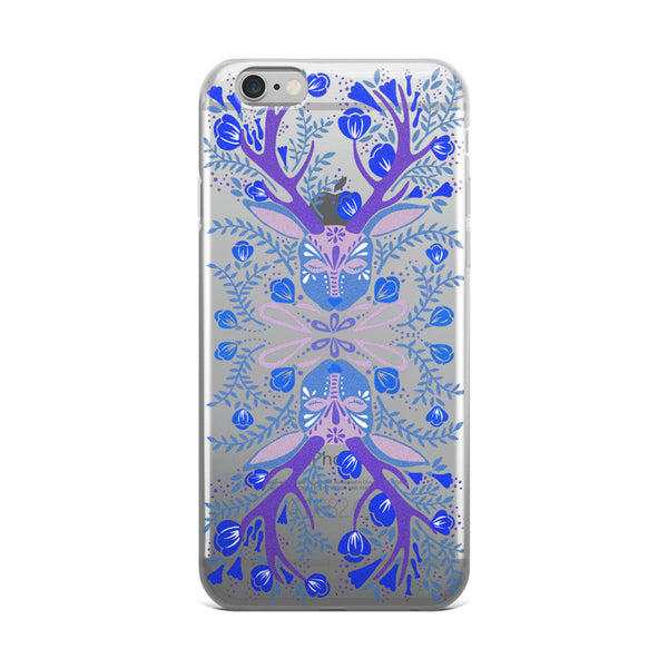 Floral Antlers – Blue Palette  •  iPhone 5/5s/Se, 6/6s, 6/6s Plus Case (Transparent)