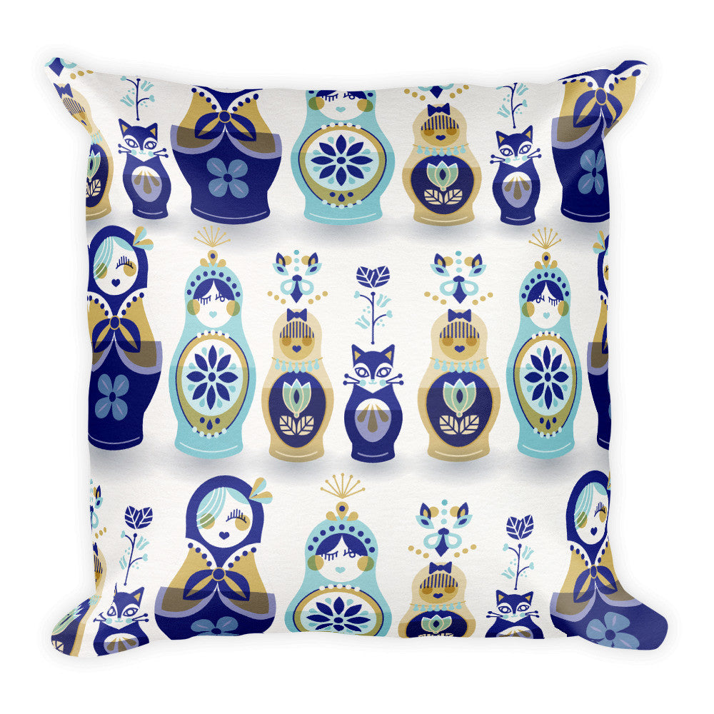 Russian Nesting Dolls – Blue & Gold Palette  •  Square Pillow