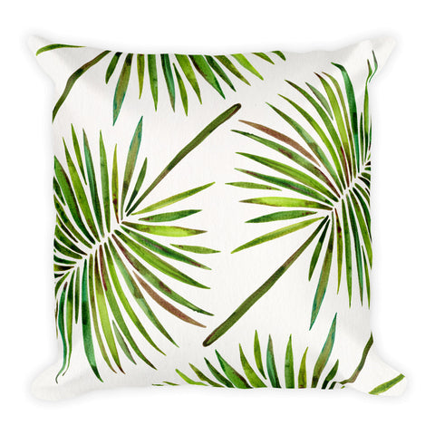 Fan Palm – Green Palette  •  Square Pillow