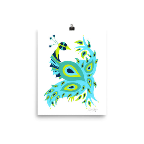 Peacock – Turquoise & Lime Palette • Art Print