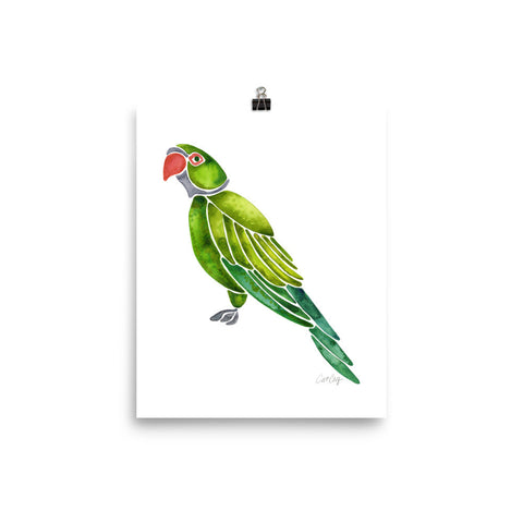 Perched Parrot – Green Palette • Art Print