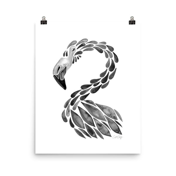 Flamingo Cameo – Black Palette • Art Print