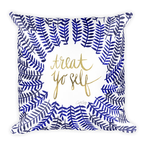 Treat Yo Self – Navy & Gold Palette • Square Pillow
