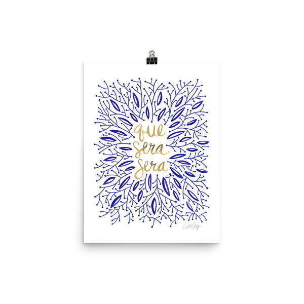 Whatever Will Be, Will Be – Illustrated Navy & Gold • Art Print