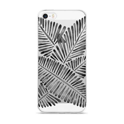 Banana Leaves – Black Palette  •  iPhone 5/5s/Se, 6/6s, 6/6s Plus Case (Transparent)