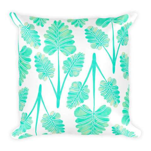 Palm Leaf Trifecta – Mint Palette • Square Pillow