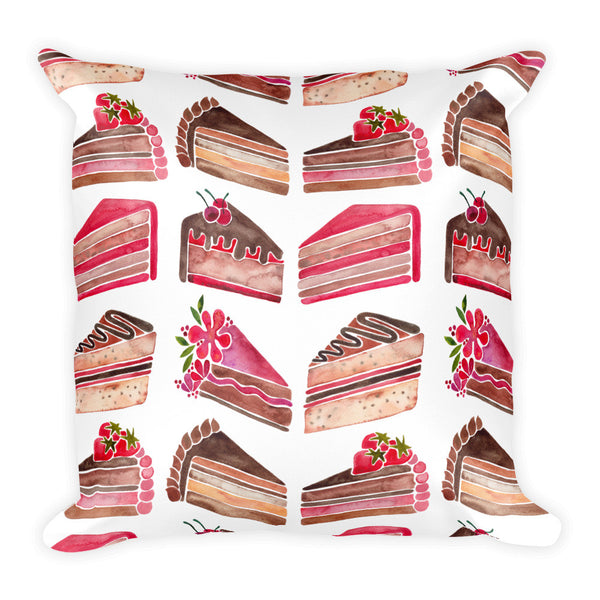 Cake Slices – Pink & Brown Palette • Square Pillow