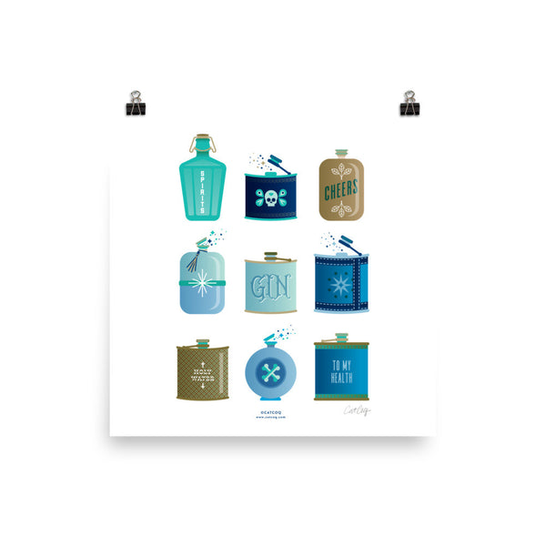 Flask Collection – Blue & Brown Palette • Art Print